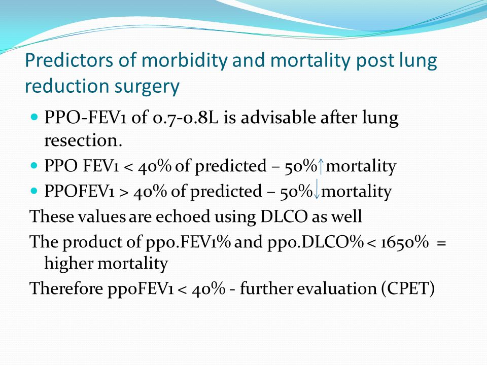 Predictors of morbidity and mortality post lung reduction surgery