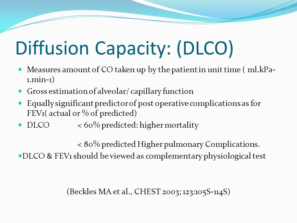 Diffusion Capacity: (DLCO)