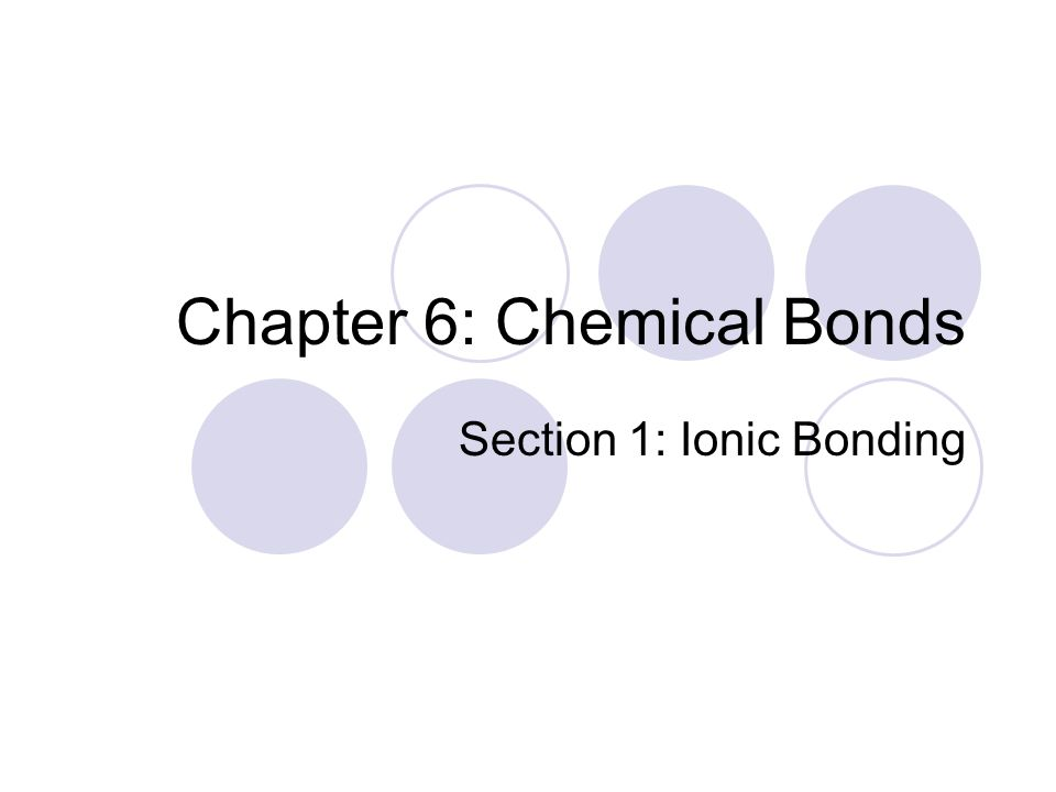 Chapter 6: Chemical Bonds