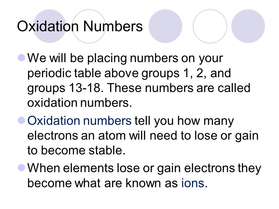 Oxidation Numbers We will be placing numbers on your periodic table above groups 1, 2, and groups 13-18. These numbers are called oxidation numbers.