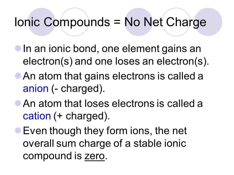 Ionic Compounds = No Net Charge