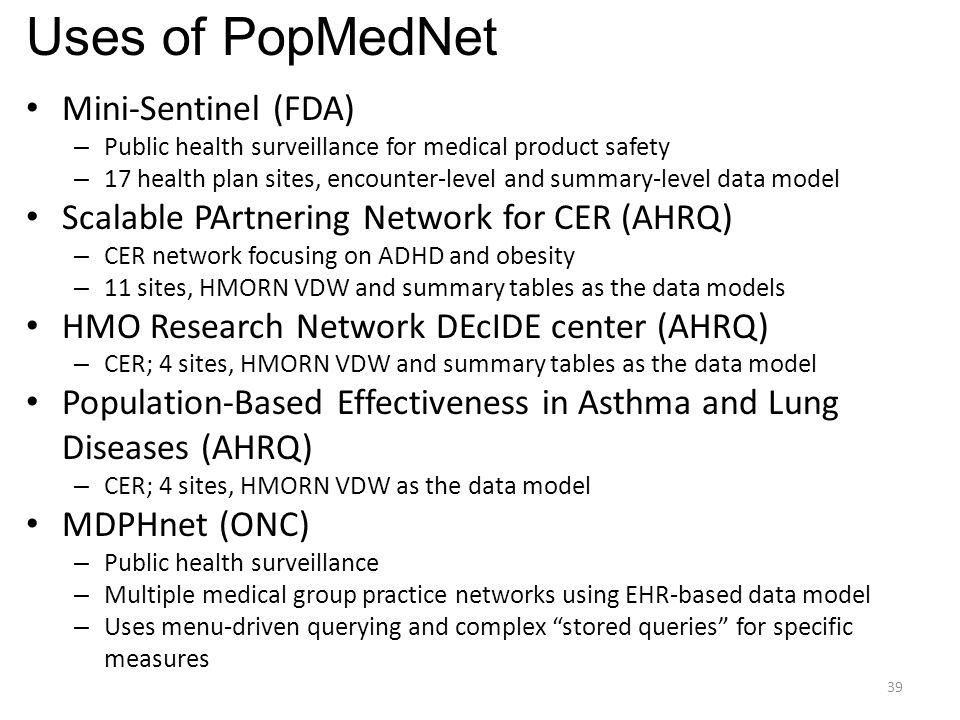 Uses of PopMedNet Mini-Sentinel (FDA)