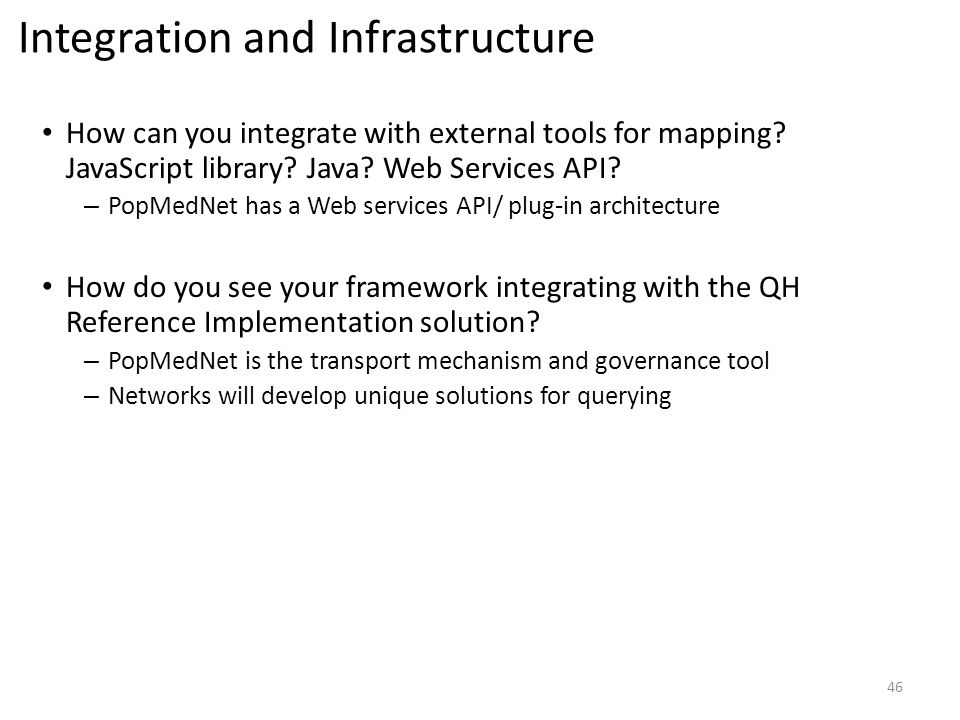 Integration and Infrastructure