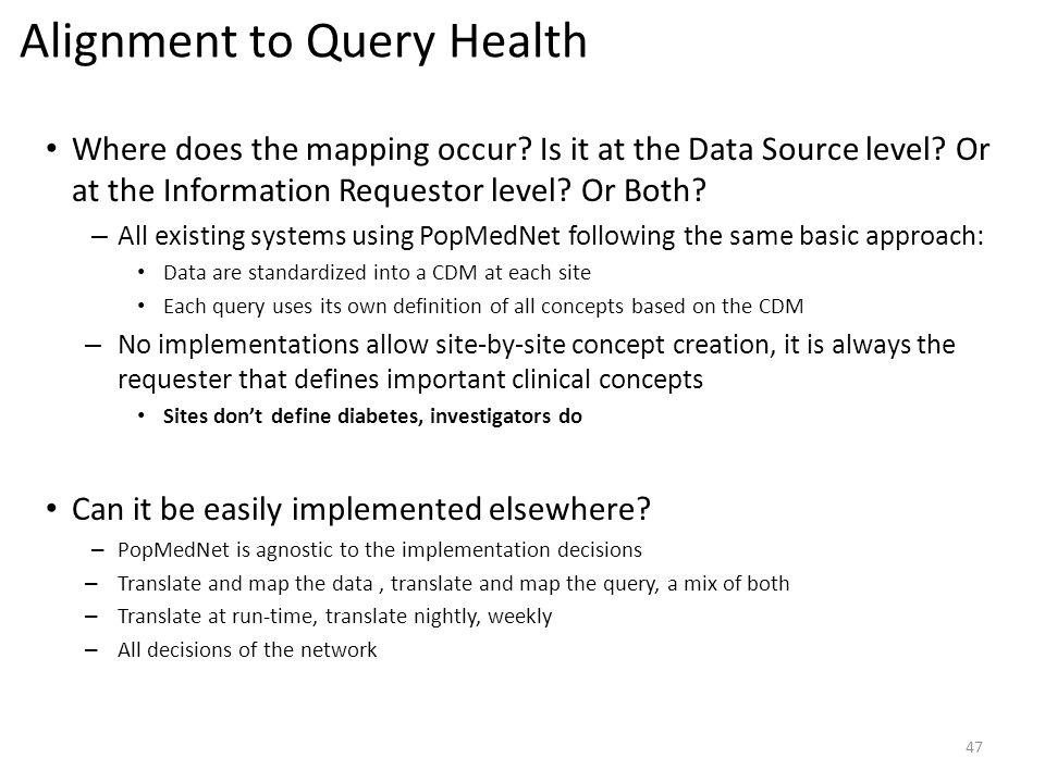 Alignment to Query Health