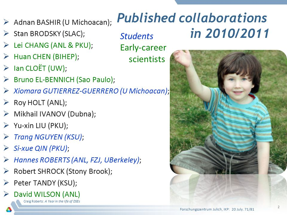 Published collaborations in 2010/2011