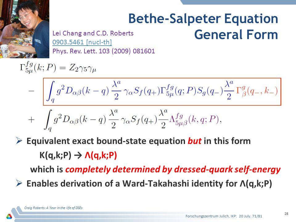 Bethe-Salpeter Equation General Form