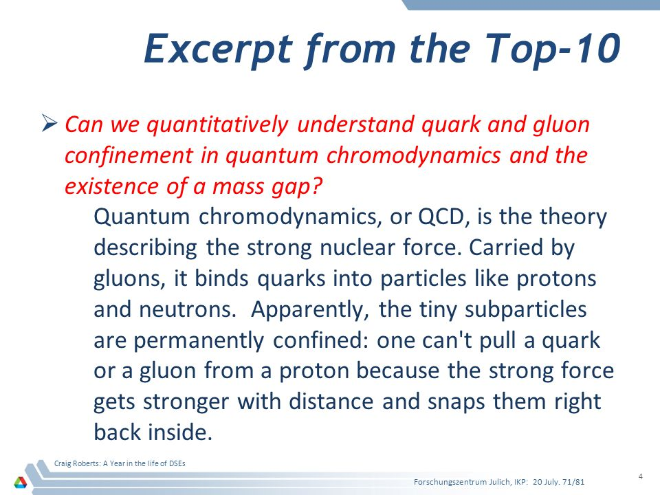 Excerpt from the Top-10 Can we quantitatively understand quark and gluon confinement in quantum chromodynamics and the existence of a mass gap