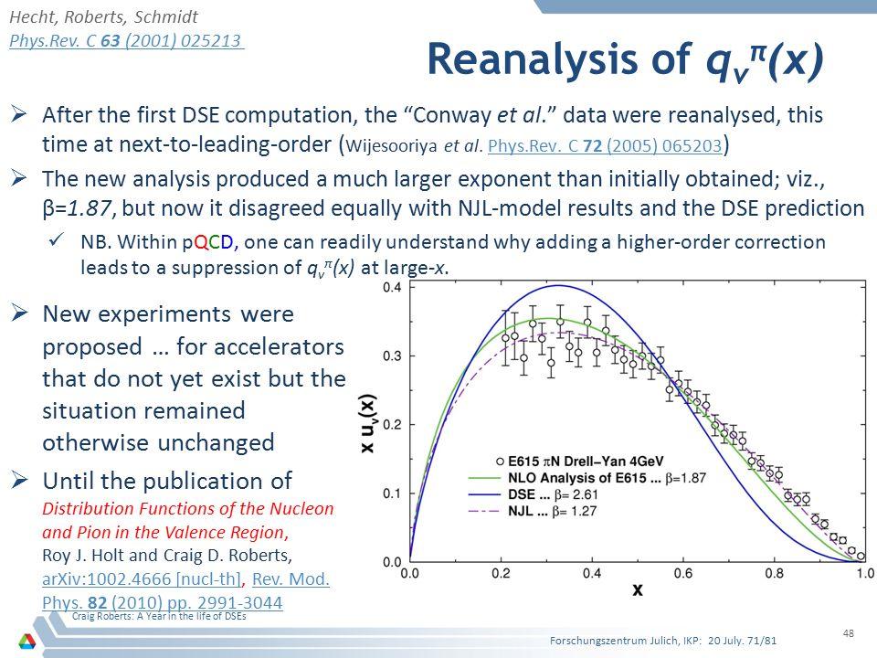Hecht, Roberts, Schmidt Phys.Rev. C 63 (2001) 025213. Reanalysis of qvπ(x)