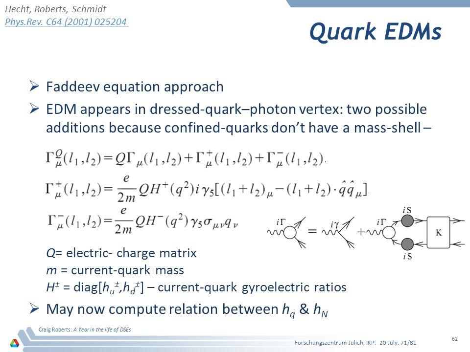 Quark EDMs Faddeev equation approach