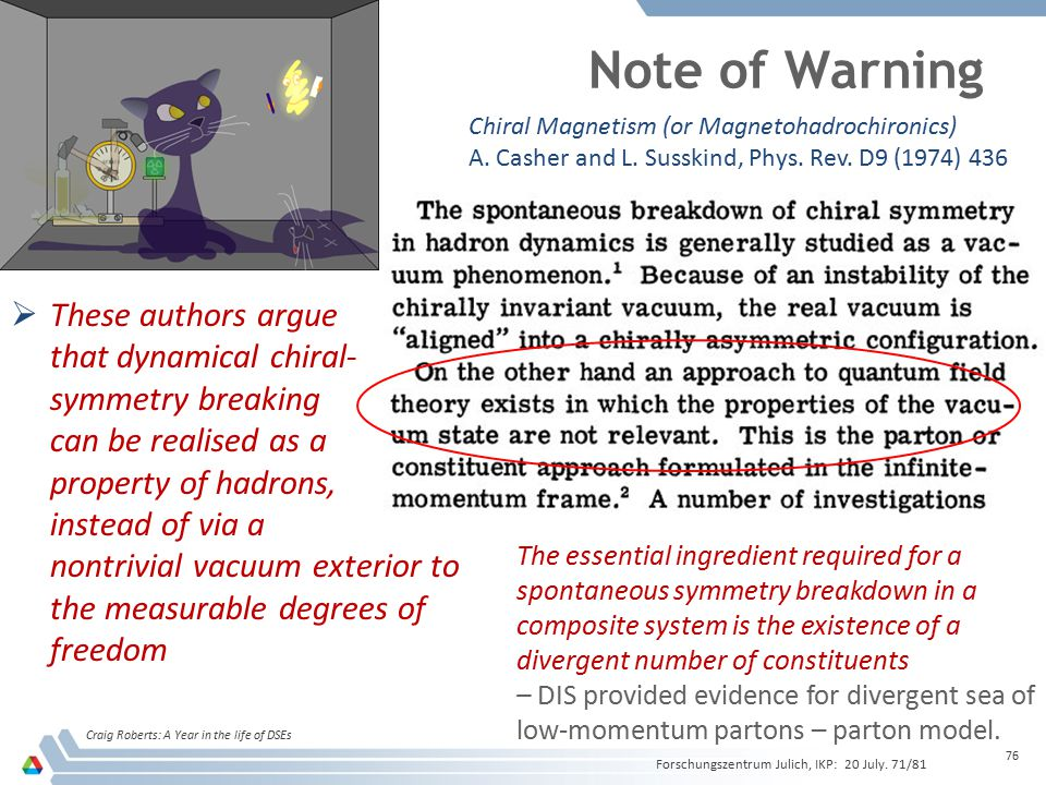 Note of Warning These authors argue that dynamical chiral-