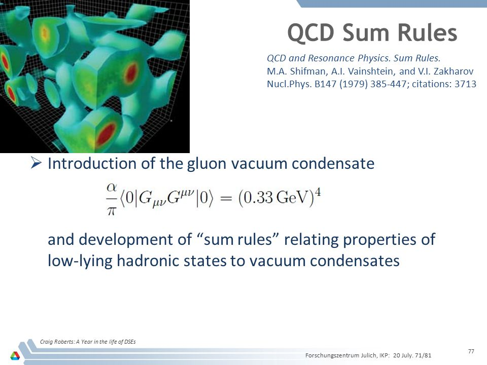QCD Sum Rules Introduction of the gluon vacuum condensate