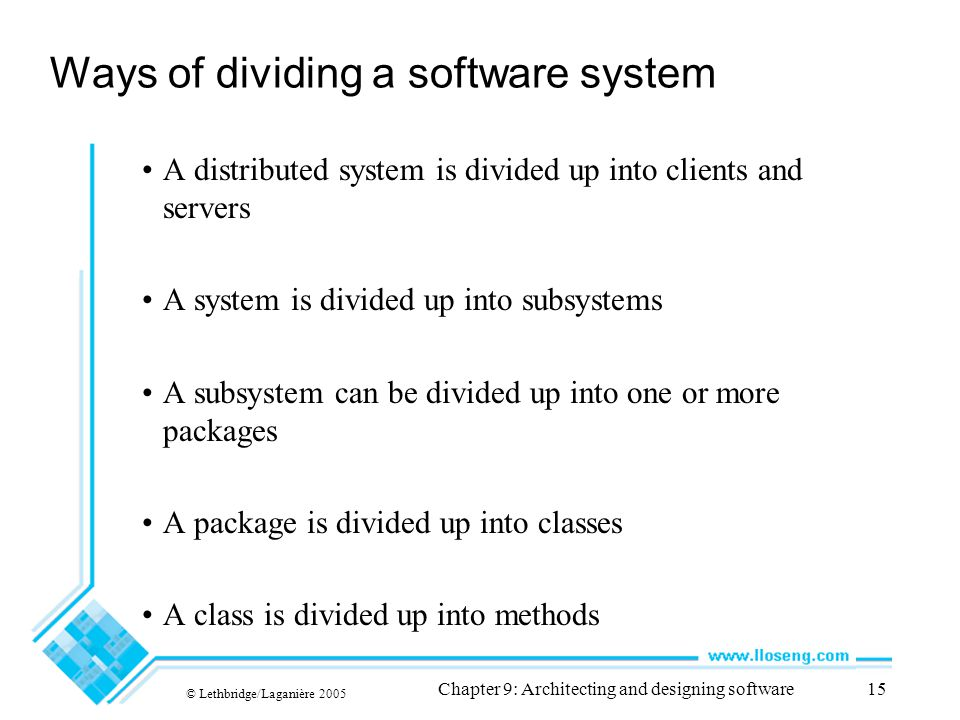 Ways of dividing a software system
