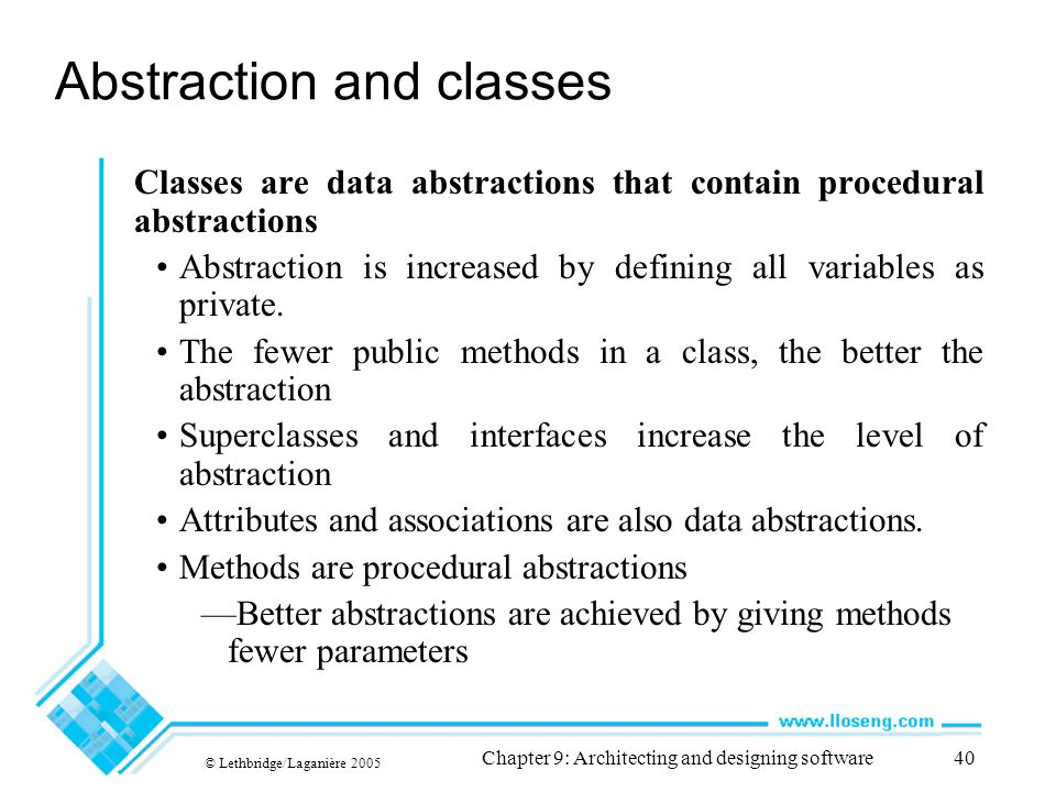 Abstraction and classes