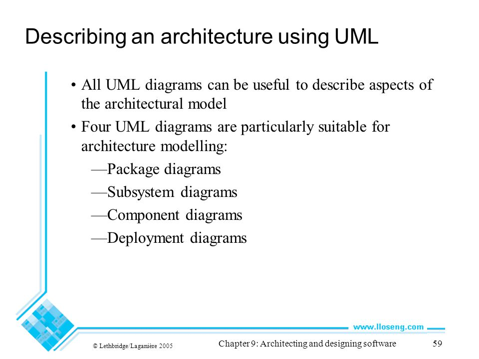 Describing an architecture using UML