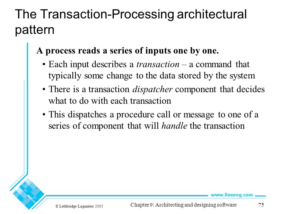 The Transaction-Processing architectural pattern