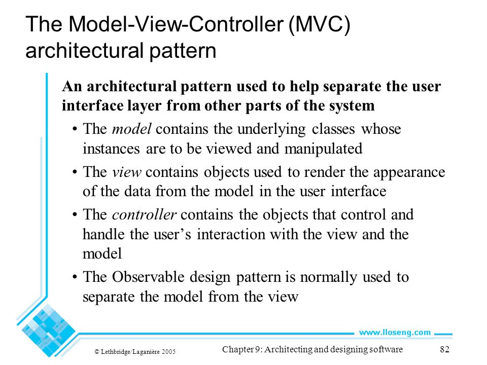 The Model-View-Controller (MVC) architectural pattern