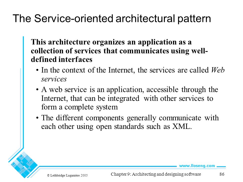 The Service-oriented architectural pattern