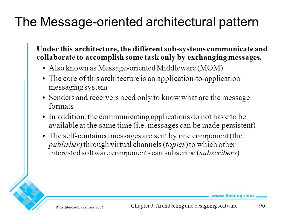 The Message-oriented architectural pattern