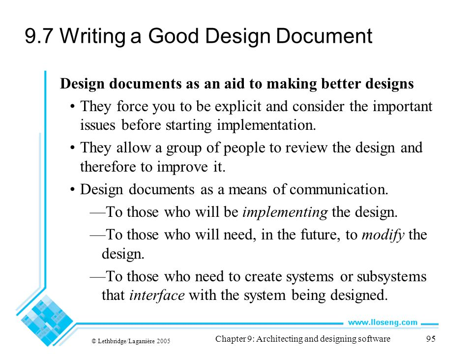 9.7 Writing a Good Design Document