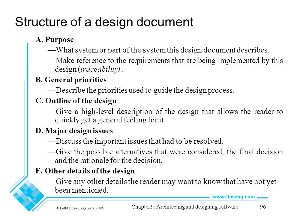 Structure of a design document