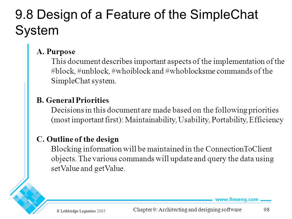 9.8 Design of a Feature of the SimpleChat System