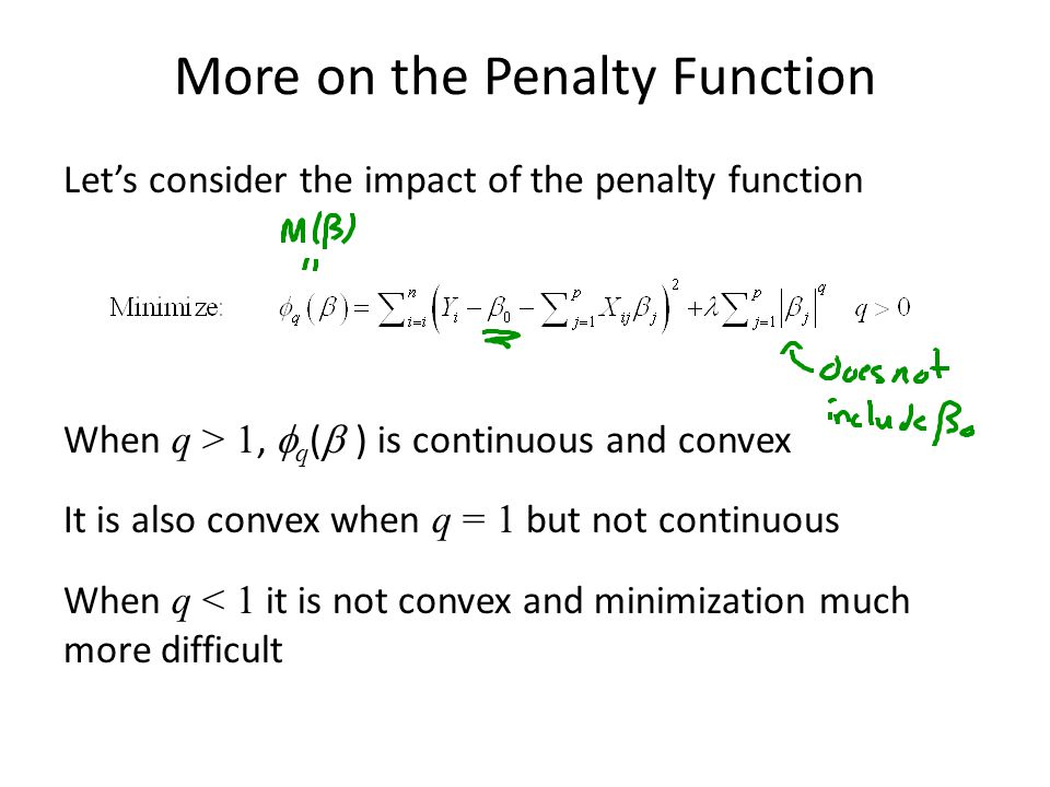 More on the Penalty Function