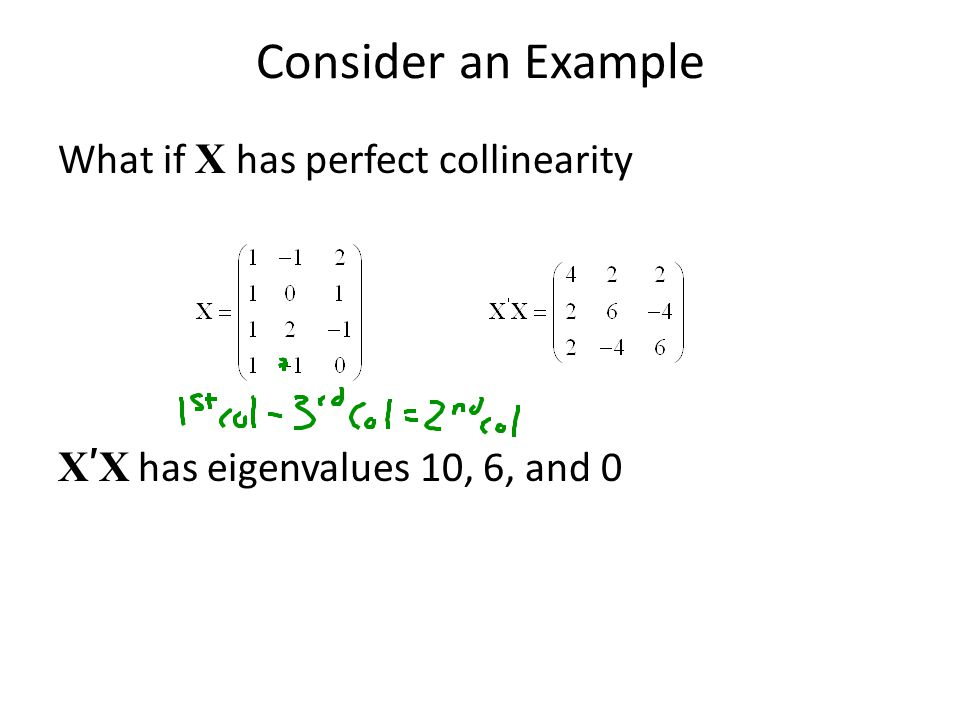 Consider an Example What if X has perfect collinearity X'X has eigenvalues 10, 6, and 0