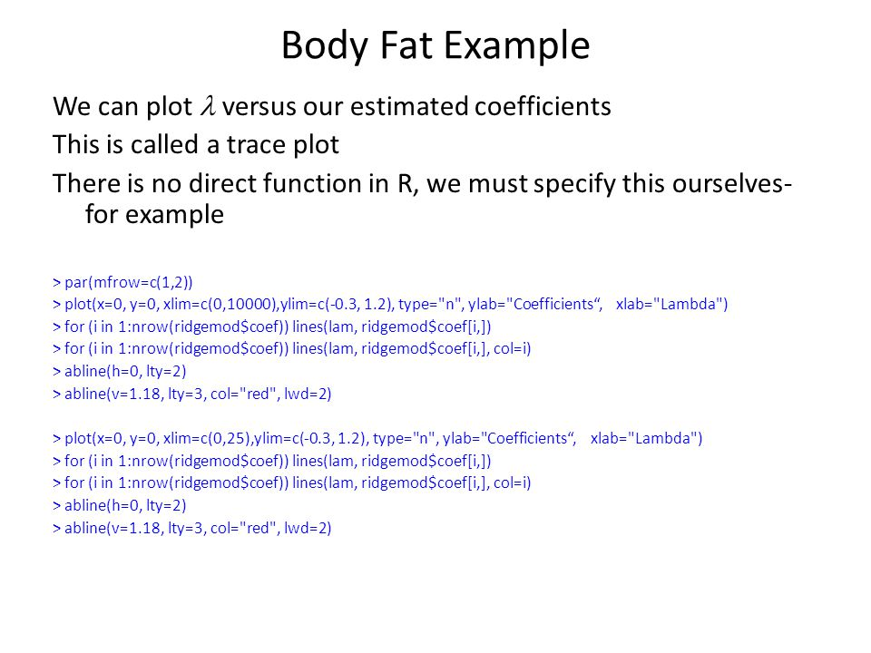 Body Fat Example We can plot l versus our estimated coefficients
