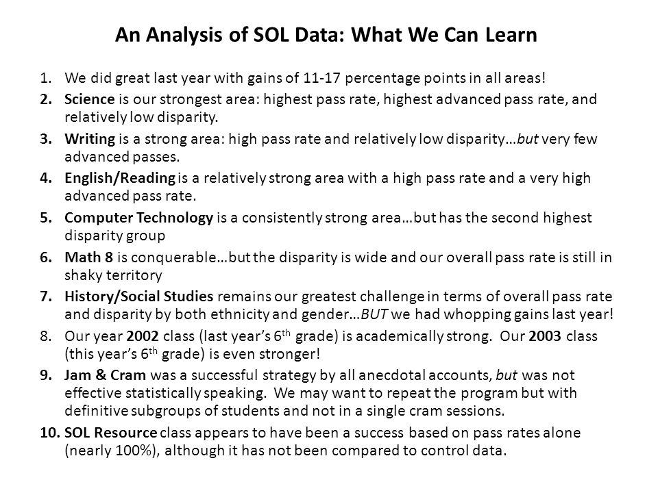 An Analysis of SOL Data: What We Can Learn