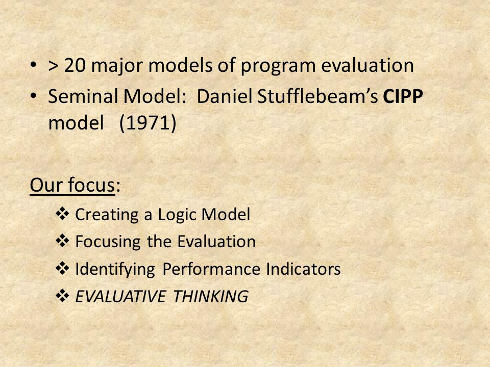 > 20 major models of program evaluation