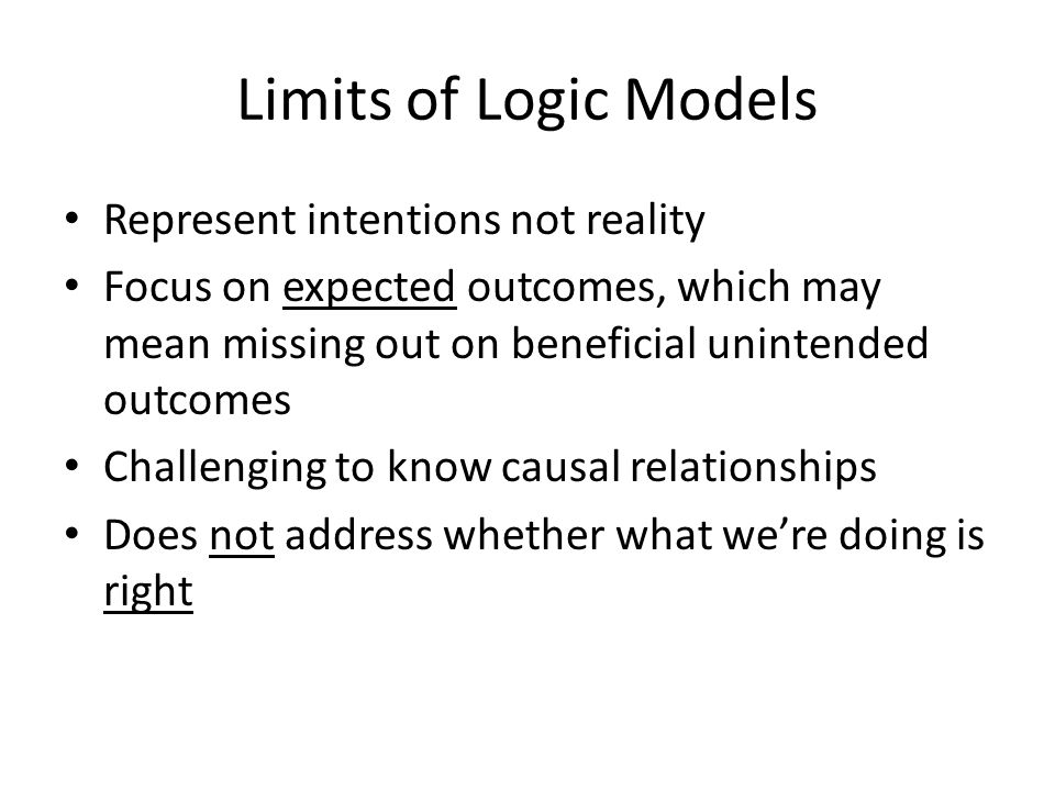 Limits of Logic Models Represent intentions not reality