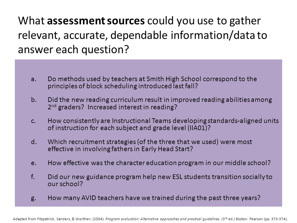 What assessment sources could you use to gather relevant, accurate, dependable information/data to answer each question