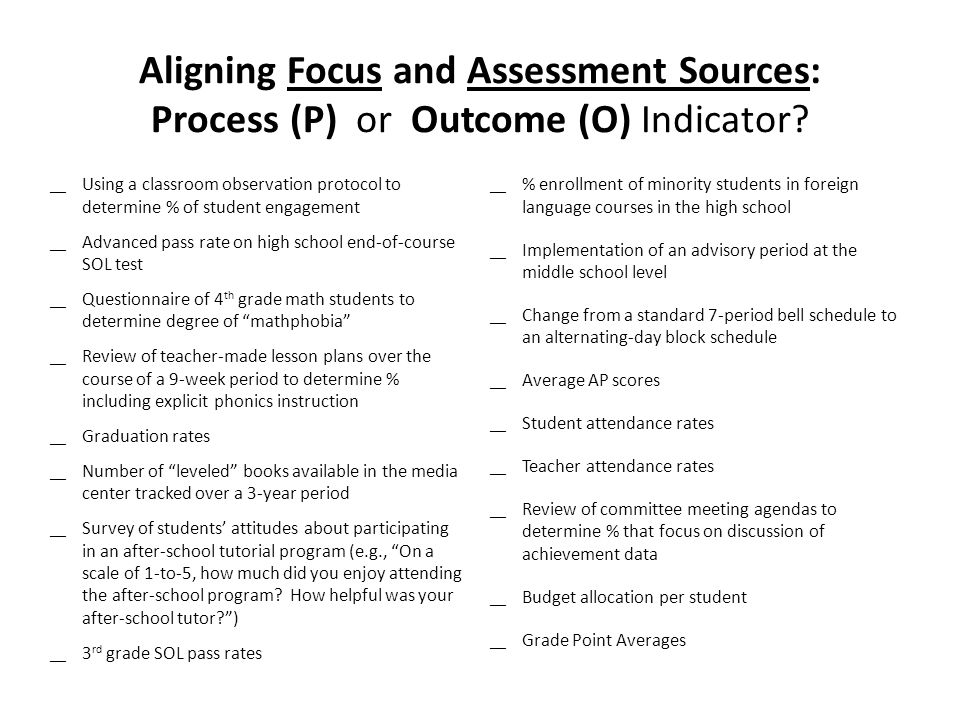 Aligning Focus and Assessment Sources: Process (P) or Outcome (O) Indicator