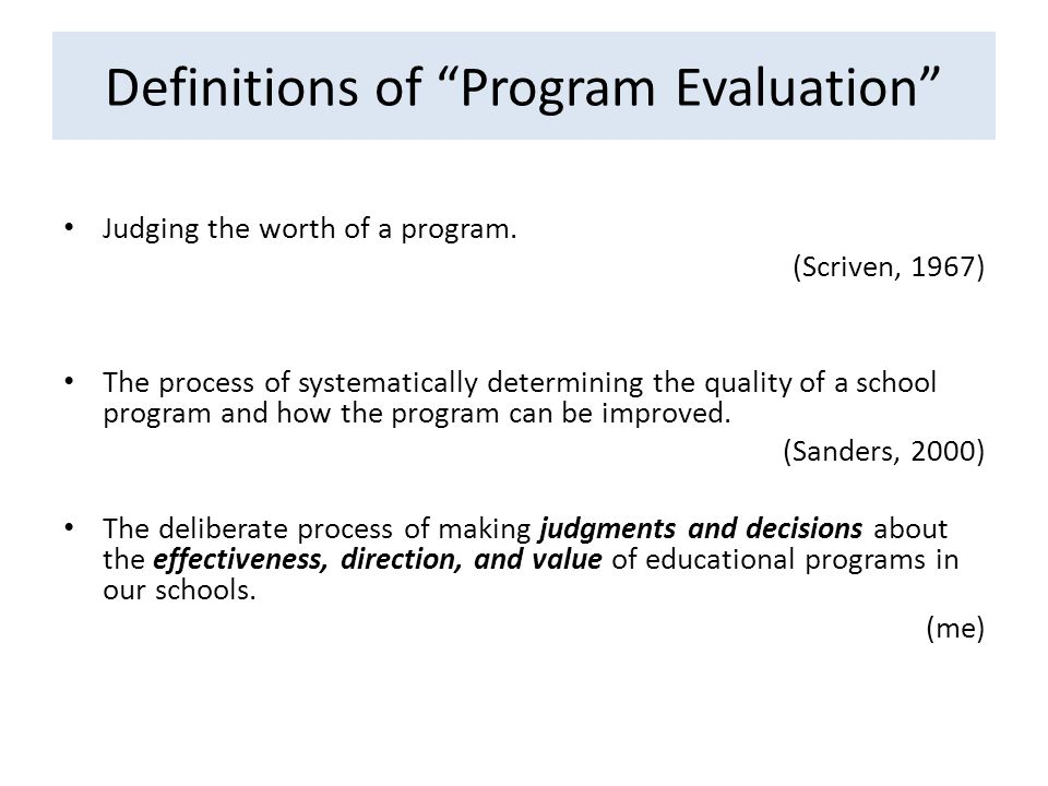Definitions of Program Evaluation