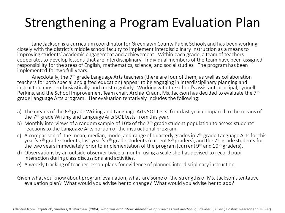 Strengthening a Program Evaluation Plan