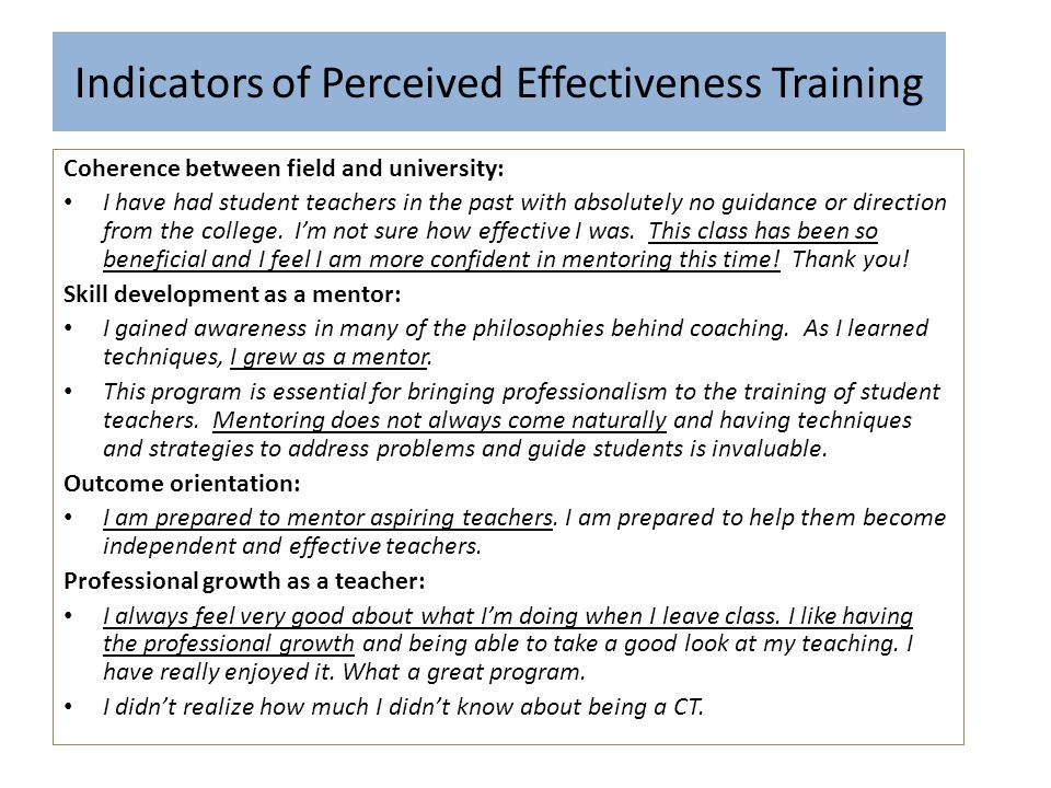 Indicators of Perceived Effectiveness Training
