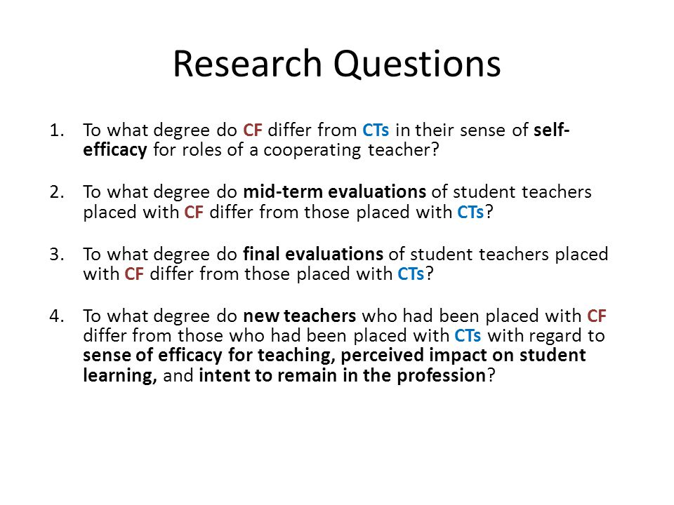 Research Questions To what degree do CF differ from CTs in their sense of self- efficacy for roles of a cooperating teacher