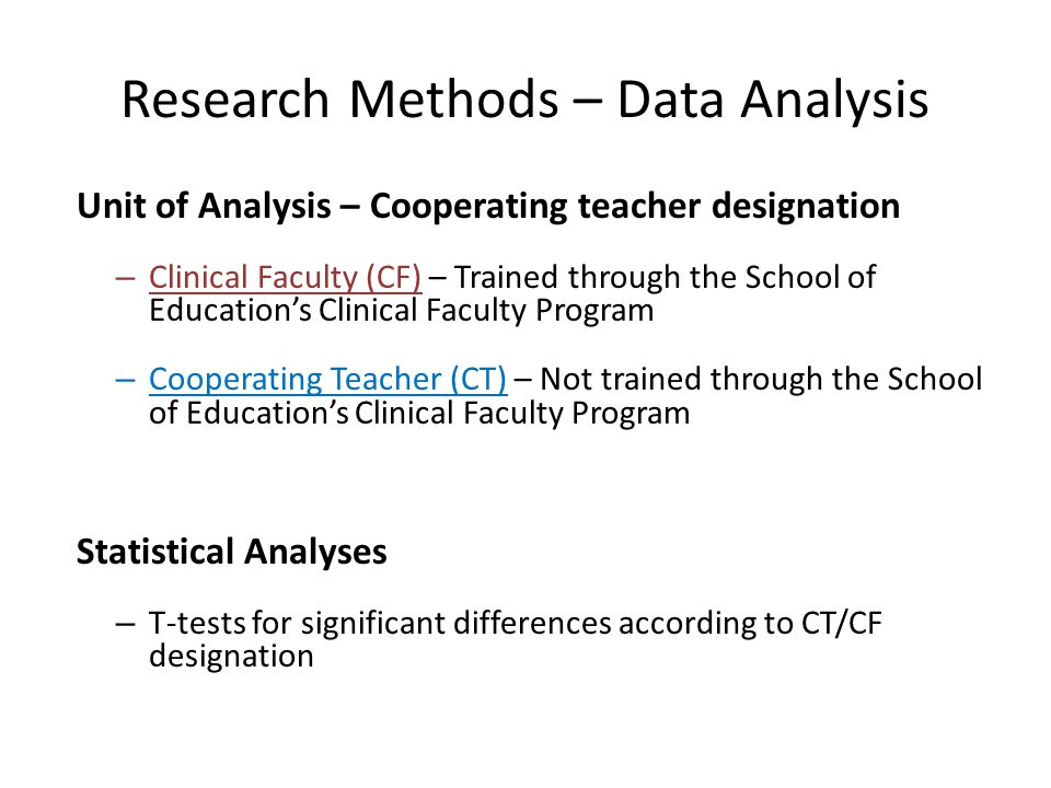 Research Methods – Data Analysis