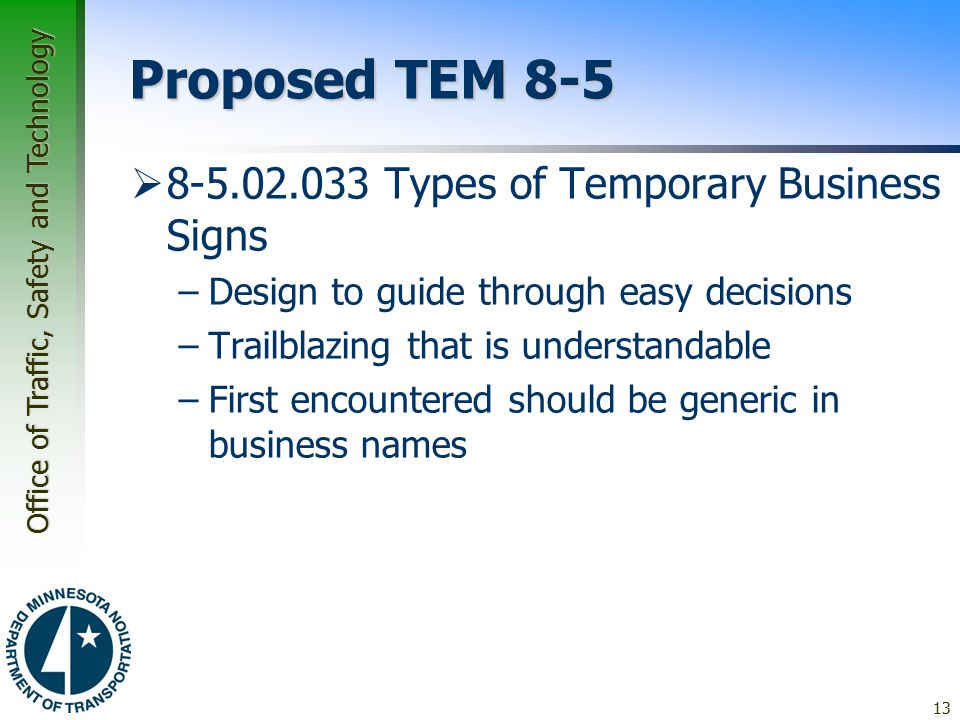 Proposed TEM 8-5 8-5.02.033 Types of Temporary Business Signs
