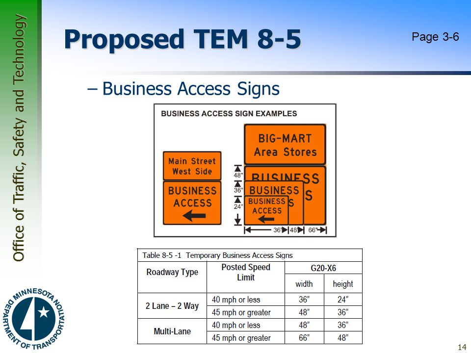 Proposed TEM 8-5 Page 3-6 Business Access Signs