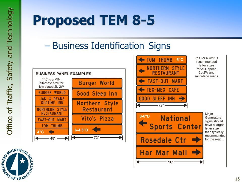 Proposed TEM 8-5 Business Identification Signs