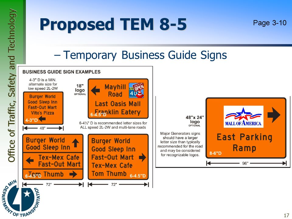 Proposed TEM 8-5 Page 3-10 Temporary Business Guide Signs