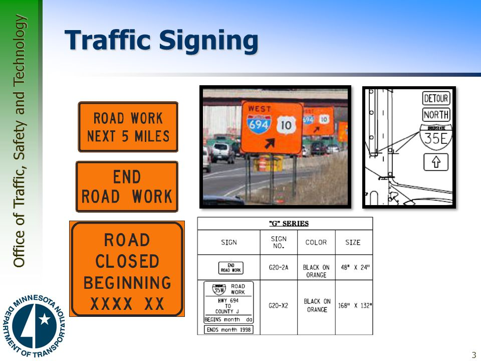 Traffic Signing Guide Signs Guidance through work zones
