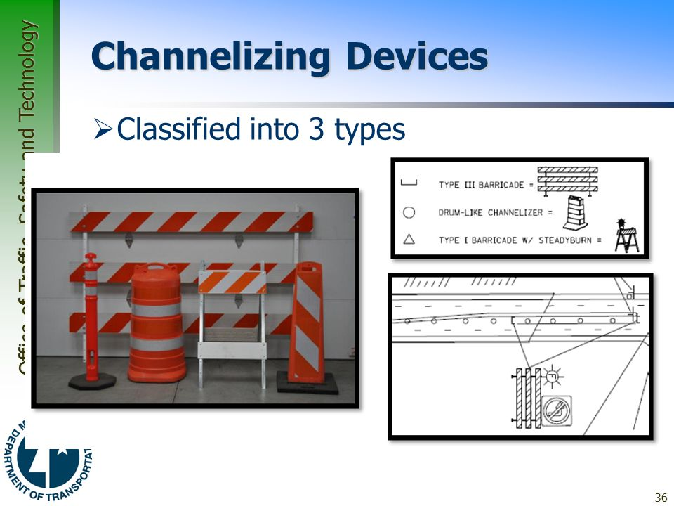 Channelizing Devices Classified into 3 types Type A Type B Type C