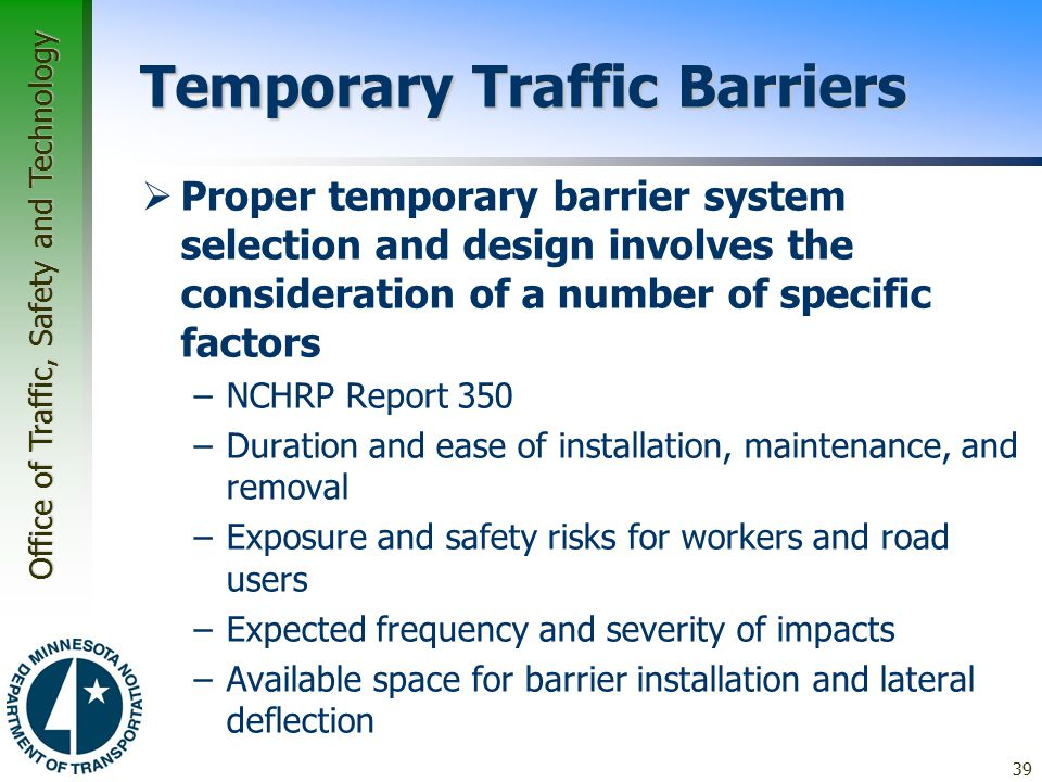 Temporary Traffic Barriers