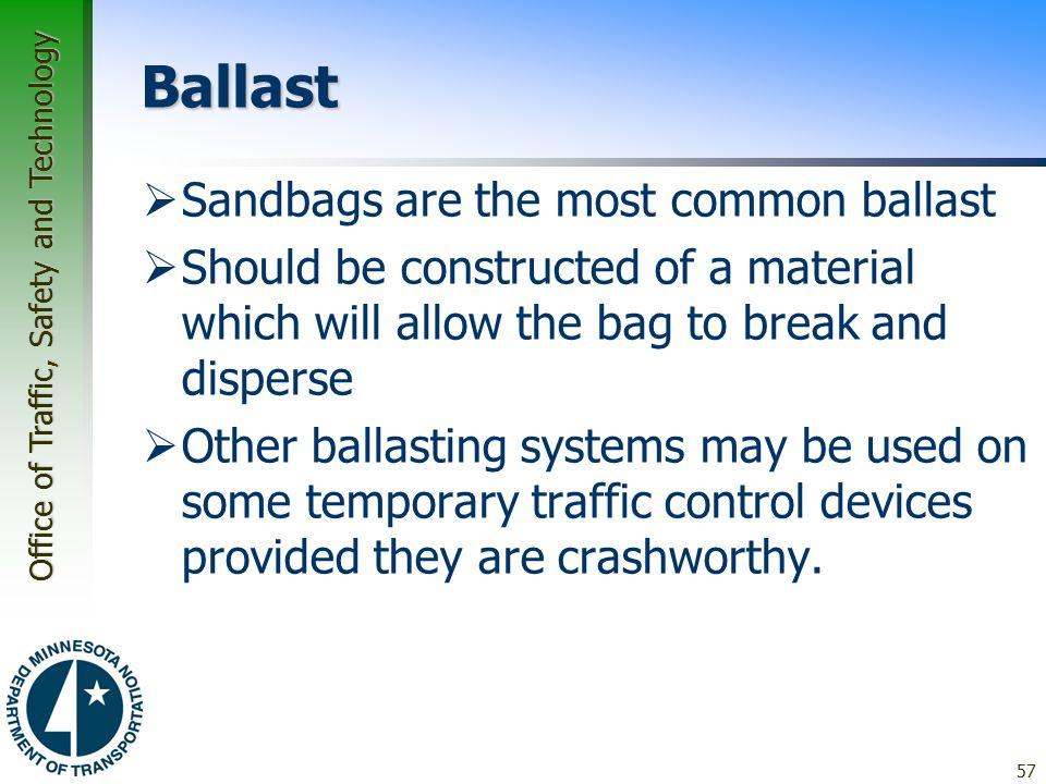 Ballast Sandbags are the most common ballast