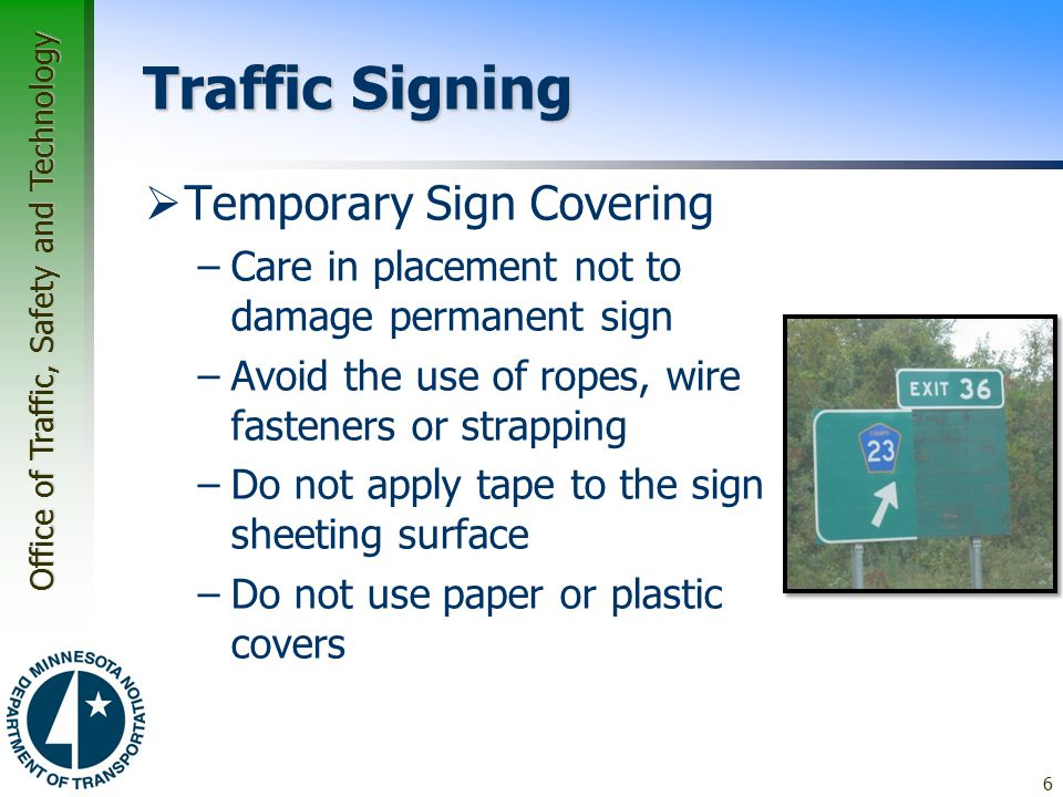 Traffic Signing Temporary Sign Covering