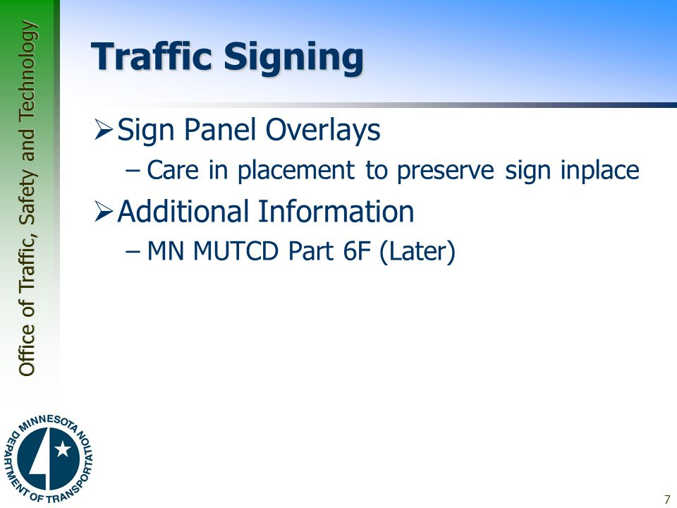 Traffic Signing Sign Panel Overlays Additional Information