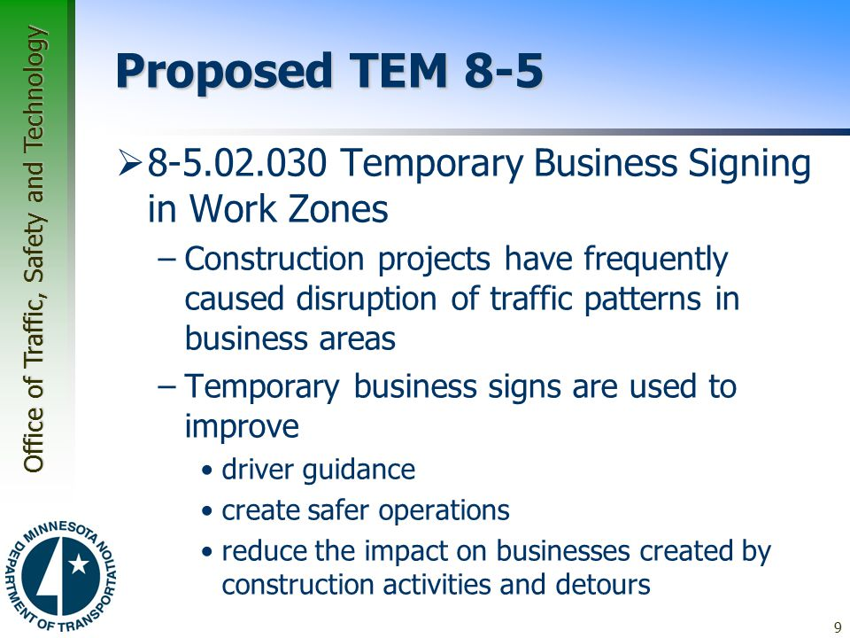 Proposed TEM 8-5 8-5.02.030 Temporary Business Signing in Work Zones