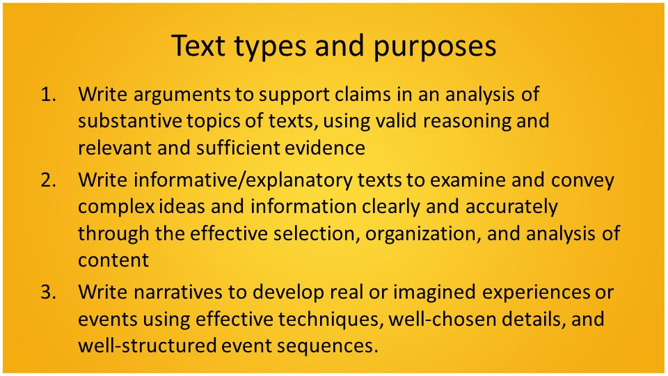 Text types and purposes